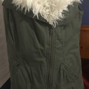 Mossimo Supply Co. Jackets & Coats - Faux Fur Army Green Vest